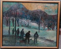 Gádor Emil (1911-1998)   Vadászok Télen c. festménye Nagyméretű 136x126 cm
