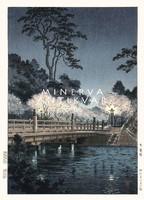 Régi japán fametszet fahíd cseresznyefa virágzás éjszakai táj folyó Kitűnő minőségű reprint nyomat