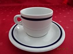 Alföldi porcelán, kék csíkos kávéscsésze + alátét.
