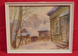 Rönkházak a télben, 1992 - Izraeli - Orosz gyűjtő gyűjteményéből származó akvarellfestmény