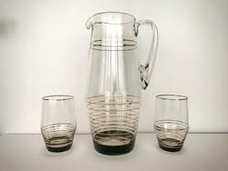 Art deco stílusú mid century üveg kancsó + 3 pohár