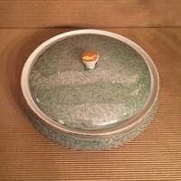 Hollóházi bonbonier, doboz, ékszertartó, zöld lüsztermáz