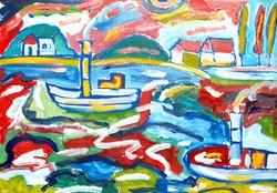 Németh Miklós (1934-2012): Hajók a hullámzó vízen - nagy méretű olajfestmény
