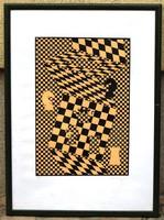 Vasarely: Sakk, szitanyomat, 48 x 32,5 cm