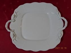 Herendi porcelán, két füles, fehér süteményes tál.