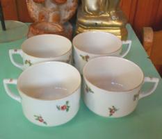 Antik virágos porcelán teás csészék, 17 db Drasche, cseh és német (no.2)