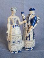 Borozgató Vadász pár, első osztályú Hollóházi porcelán