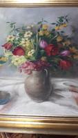 Tavaszi virágos csendélet, festmény