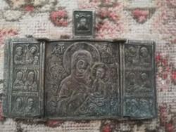 ANTIK OROSZ bronz ikon SZMOLENSZKI istenanya tryptikon 18 század