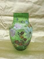 Antik, festett.üvegváza, 1900 as.évek. 38'cm magas.