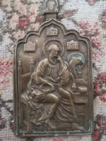 ANTIK OROSZ bronz ikon JÁNOS evangelista mandylion 18/19század