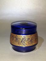 Antik MOSER Cobalt Blue kobalt kék aranyozott  fedeles üveg tégely jelzett eredeti