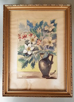 Akvarell virágcsendélet csendélet festmény 46 x 34 cm üvegezett keretben