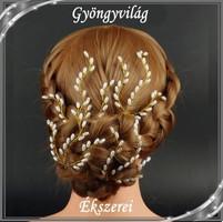 Ékszerek-hajdíszek, hajcsatok: Esküvői, menyasszonyi, alkalmi hajdísz, SH 14 a-tört fehér 1szett(4db