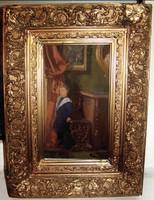 Gyönyörű Enteriőr antik festmény !