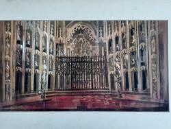 Monumentális enteriőr (akvarell 27x50 cm) látványos színházi díszletterv