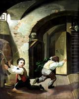 1846 -ból ! BALESET A PINCÉBEN !!! KARIKATURISZTIKUS XIX. SZÁZADI IGAZI ANTIK OLAJ FESTMÉNY !!!
