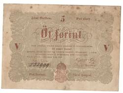 1848 as 5 forint Kossuth bankó papírpénz bankjegy 48 49 es szabadságharc pénze
