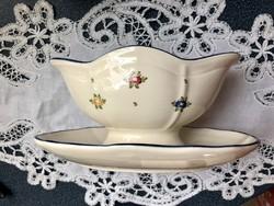 Vanília színű kézzel festett Zeller keramik szószos, kínáló körben virágos