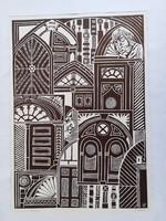 TAVASZY NOÉMI: Lőcsei kapuk (linó) 1975, kollázs-szerű geometrikus, feketefehér, Szlovákia, Felvidék