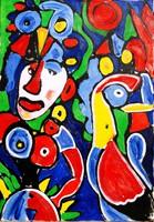 Németh Miklós (1934-2012): Jelenet táncolókkal - nagy méretű olaj-vászon festmény