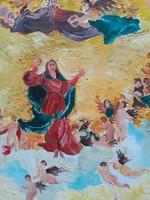 Mennyországi jelenet angyalokkal (olajfestmény, 30x40 cm) Biblia, vallási, egyházi, mitológia