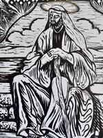 TAVASZY NOÉMI: Szt. András (linó) 1993 - Biblia, szent portréja, fekete-fehér emberábrázolás