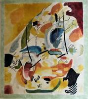 Wassily Kandinsky Tengeri csata c. festménye után készített selyem faliszőnyeg 88x97cm