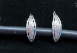 Antik ezüst fülbevaló, levél alakú, beakasztós