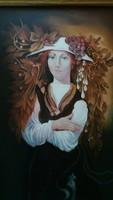 Nagy méretű női portré olaj, vászon festmény, hibátlan 120 x 80 cm, felújított keretben