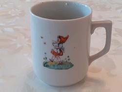 Régi Zsolnay porcelán mesemintás bögre népi babás cicás békás teás csésze
