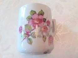 Régi zsolnay porcelán vadrózsás bögre népi teás csésze