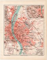 Budapest térkép 1893, német nyelvű, eredeti, Magyarország, főváros, Meyers lexikon, Buda, Pest