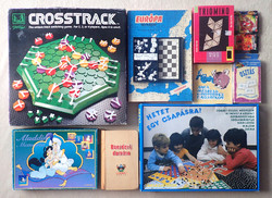 Régi retro 10 darabos játékcsomag: társasjáték építő játék domino kirakó puzzle kártya sakk
