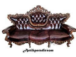 A202 Gyönyörű áttört faragású barokk bőr kanapé