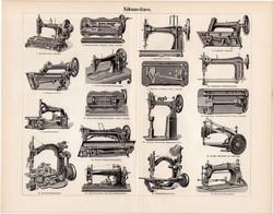 Varrógépek, egyszín nyomat 1896, német nyelvű, eredeti, varrógép, Viktoria, Veritas, Nova