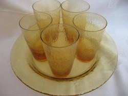 Deres hatású borostyán üveg pohár készlet