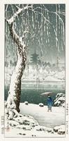 Régi japán fametszet téli táj havas tópart gésa ernyő fűzfa hóesés Kitűnő minőségű reprint nyomat