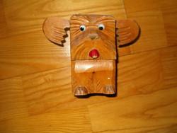 kutya faragott retro szobor fa faragás talán tolltartó kb 80 as évek szocreál kádár szouvenír