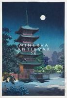 Régi japán fametszet éjszaka éjjel látkép pagoda telihold falu fák Kitűnő minőségű reprint nyomat