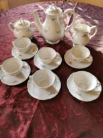 Zsolnay barokk pajzspecsétes tollazott 6 személyes kávés készlet az 1930 -as évekből