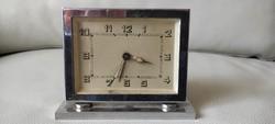 Art Deco asztali óra krómozott, Retro,Loft, Italia, Olasz eredeti darab, csörgő vekker!
