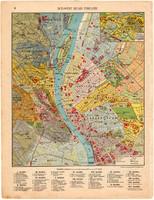 Budapest térkép, kb. 1940, eredeti, Magyarország, iskolai atlasz, Duna, Buda, Pest, kerületek