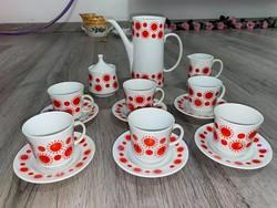 Alföldi napocskás retro porcelán kávés készlet