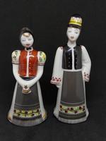 HOLLÓHÁZI Matyó pár porcelán, hibátlan, jelzett