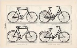 Kerékpár, bicikli, motorbicikli I., II, egyszínű nyomat 1905, német nyelvű, motor, Corona, Gritzners