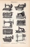Varrógépek I., II., egyszínű nyomat 1905, német nyelvű, eredeti, Victoria, varrás, varrógép, Gibbs