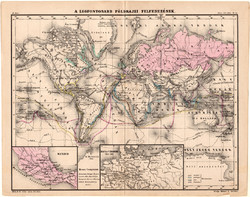 A legfontosabb földrajzi felfedezések térkép 1880, eredeti, iskolai atlasz, történelmi, világtérkép
