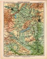 Délnyugati dombvidék térkép 1913, eredeti, Magyarország, iskolai atlasz, Balaton, nyugar, Bakony
