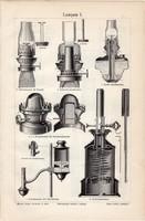Lámpák I. és II., egyszín nyomat 1906, német nyelvű, eredeti, lámpa, világítás, égő, petróleum